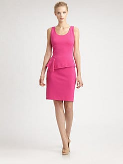 Josie Natori - Asymmetrical-Peplum Dress