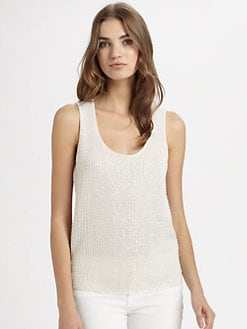 Josie Natori - Silk/Cotton Sequin-Front Top