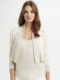 Josie Natori - Silk/Cotton Sequin-Trim Bolero