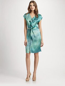 Josie Natori - Silk Ruffle-Front Dress