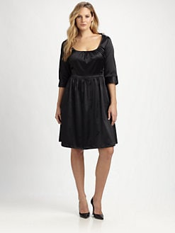 Melissa Masse, Salon Z - Satin Scoopneck Dress