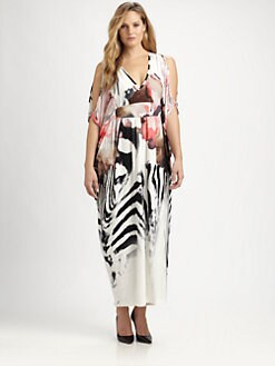 Melissa Masse, Salon Z - Printed Cold-Shoulder Maxi Dress