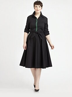Melissa Masse, Salon Z - Embroidered-Placket Shirtdress