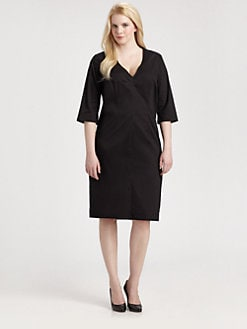Melissa Masse, Salon Z - Side-Slit V-neck Dress