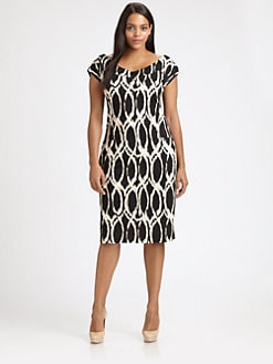Melissa Masse, Salon Z - Printed Cap-Sleeve Dress