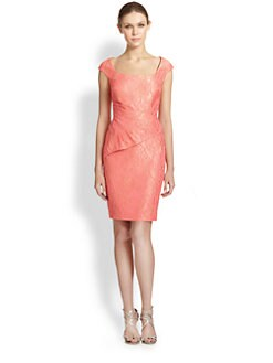 Kay Unger - Brocade Peplum-Drape Dress