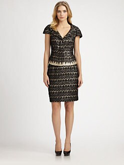 Kay Unger - Lace-Sequin Skirt Suit