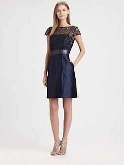 Kay Unger - Cap-Sleeve Sequined Dress
