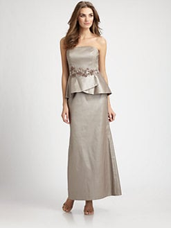 Kay Unger - Embroidered Strapless Peplum Dress