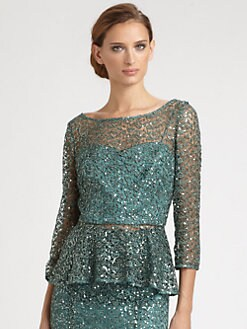 Kay Unger - Sequined Lace Peplum Top