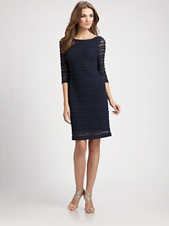 Kay Unger - Embroidered Mesh Dress