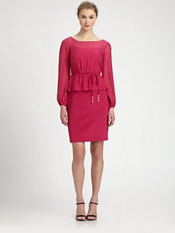Kay Unger - Silk Belted Peplum Dress