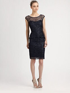 Kay Unger - Sequined Peplum Dress
