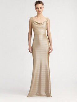 Kay Unger - Banded Lace-Trimmed Gown