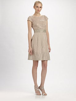 Kay Unger - Sequined Moir&eacute; Dress