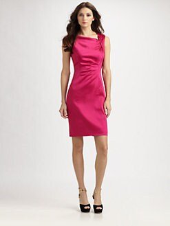 Kay Unger - Asymmetrical Satin Dress