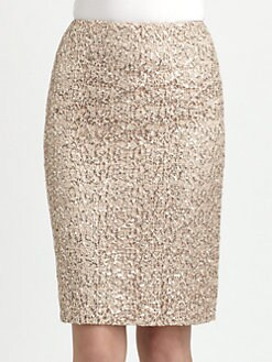 Kay Unger - Sequined Lace Pencil Skirt