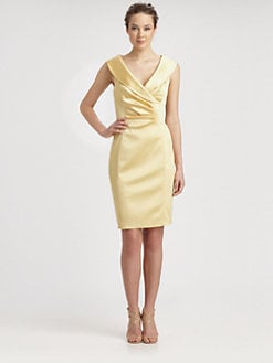 Kay Unger - Satin Shawl Collar Dress
