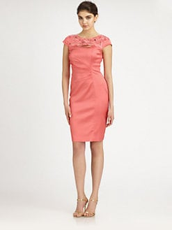 Kay Unger - Embroidered Stretch Satin Dress