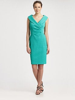 Kay Unger - Textured Shawl Collar Dress