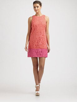 Phoebe Couture by Kay Unger - Colorblock Lace Dress