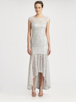 Kay Unger - Sequined Lace Hi-Lo Gown