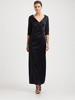 Kay Unger - Satin Shawl Collar Gown