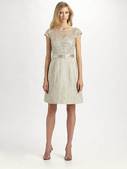 Kay Unger - Moiré Metallic Lace Dress