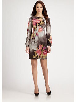 Kay Unger - Floral Silk Dress