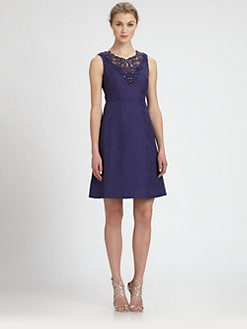 Kay Unger - Rhinestone-Embellished Jacquard Dress