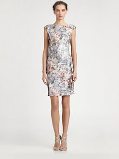 Kay Unger - Floral Keyhole Dress