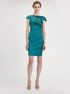 Kay Unger - Satin Slash-Neck Dress