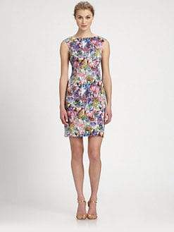 Kay Unger - Printed Stretch Cotton Dress