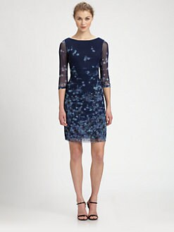 Kay Unger - Ruched Printed Mesh Dress