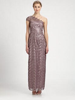 Kay Unger - Sequined Metallic Crocheted One-Shoulder Gown