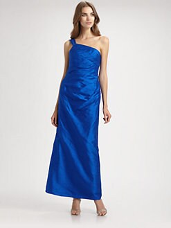 Phoebe Couture by Kay Unger - Asymmetrical Silk Gown