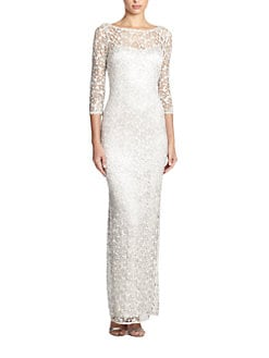 Kay Unger - Metallic Lace Gown