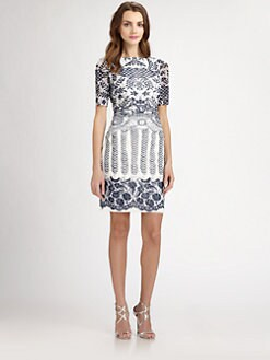 Kay Unger - Lace Print Mesh Dress