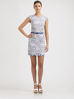 Phoebe Couture by Kay Unger - Belted Lace Dress