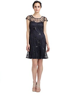 Kay Unger - Sequined Mesh Dress