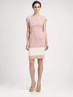 Kay Unger - Colorblock Tweed Dress