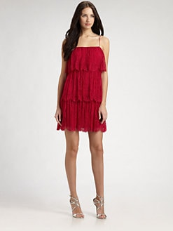 Phoebe Couture by Kay Unger - Tiered Lace Dress