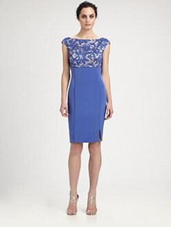Kay Unger - Lace & Crepe Dress