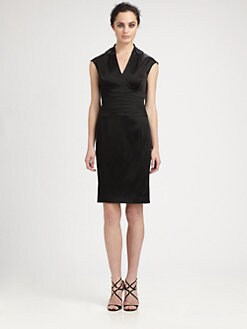 Kay Unger - Appliquéd-Neckline Stretch Satin Dress