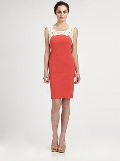 Kay Unger - Crocheted-Yoke Dress