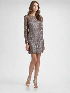 Kay Unger - Bracelet-Sleeve Lace Dress