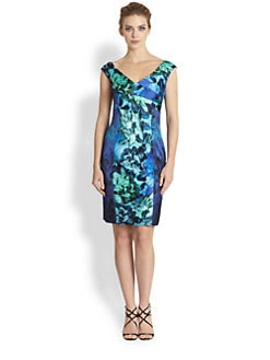 Kay Unger - Paneled Printed Stretch Satin Dress