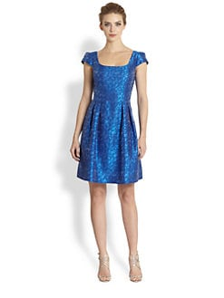 Kay Unger - Metallic Dot Jacquard Dress