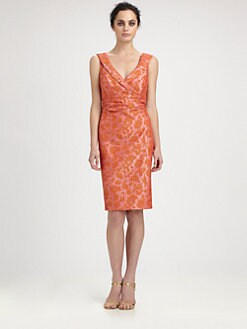 Kay Unger - Shawl-Collar Jacquard Dress