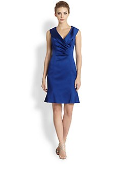 Kay Unger - Pleated-Front Stretch Satin Dress
